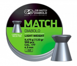 Diabolo JSB Match Light weight 4,49mm 0,475g 500ks